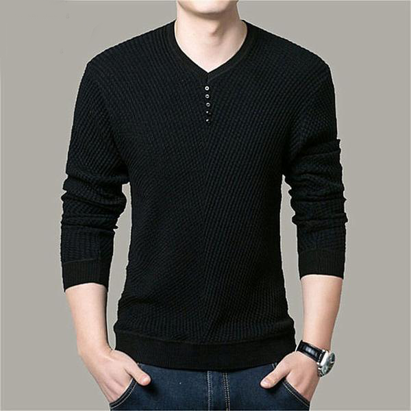Men Casual V-Neck Pullover Men Autumn Slim Fit Long Sleeve Shirt