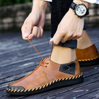 Men's Split Leather Lace Up Soft Comfortable Flats Shoes