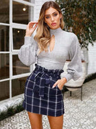 Hollow Backless Bowknot Puff Sleeves Sweater Tops