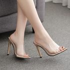 Women Classic PVC High Heel Sandals Mules Slides Open Toe Sandals