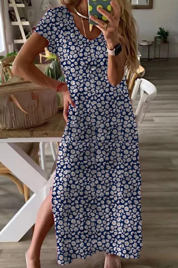 Daisy Print V-neck Short Sleeves Holiday Slit Maxi Dress