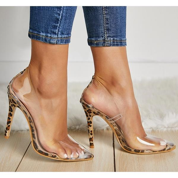 Women PVC Transparent Leopard Grain Pumps High Heel Shoes