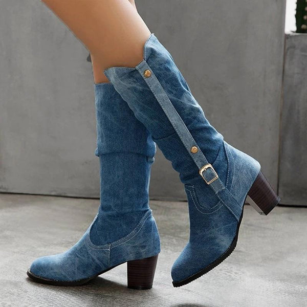 Thick heel buckle cowboy boots