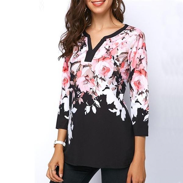 Plus Size Women Floral Printed Tops Three-Quarter Sleeve V-Neck T-shirt