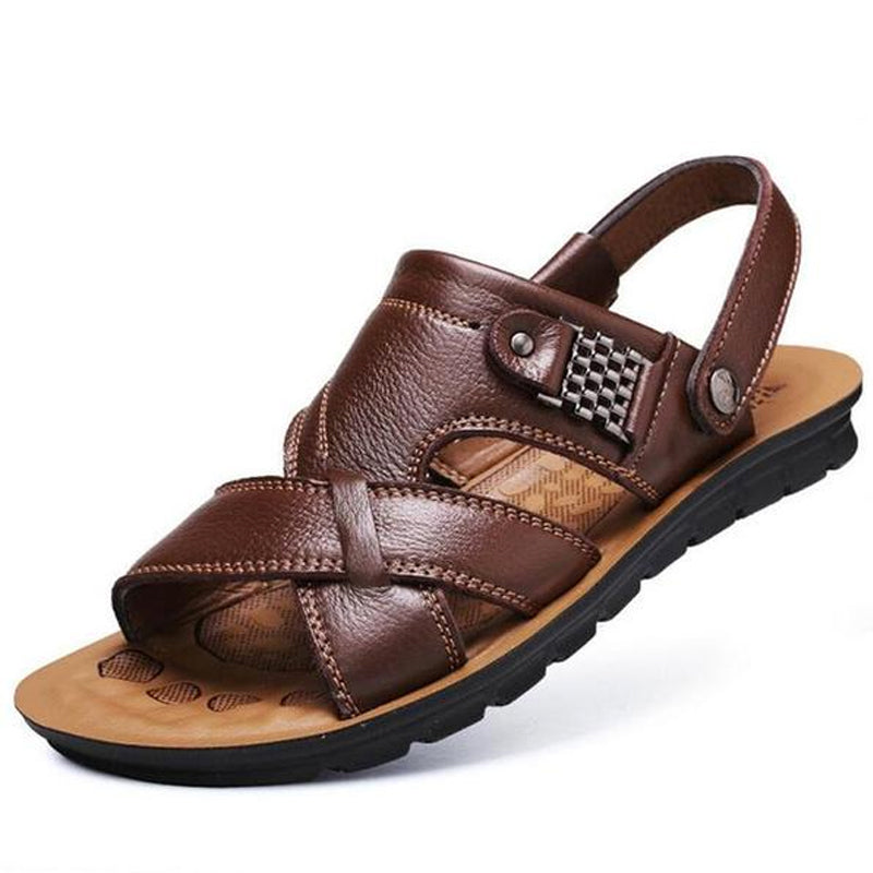 Casual Slippers Shoes Non Men's Slip Beach Genuine Sandals Leather fgI6ybm7Yv