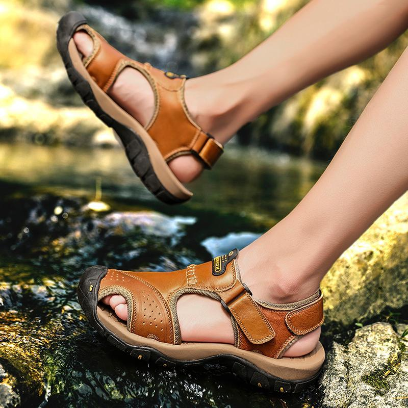 Men Soft Leather Sandals Big Size Roman Comfortable Sandal Shoes