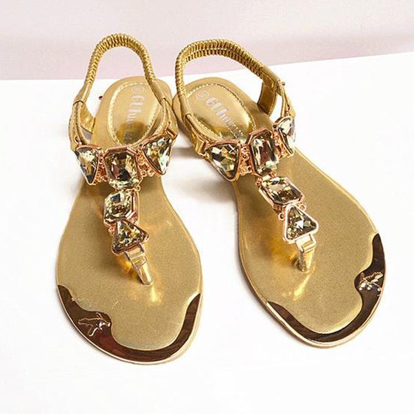 Women Hot Fashion Rhinestone Summer Sandals Clip Toe Sandals