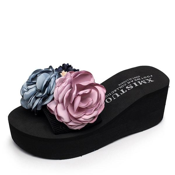 Women Beautiful Flowers Platform Sandals Beach Flip-flops Slippers Shoes