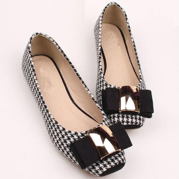 Women Ballet Flats Plaid Cloth Bowknot Comfortable Square Head Slip On Flats Shoes