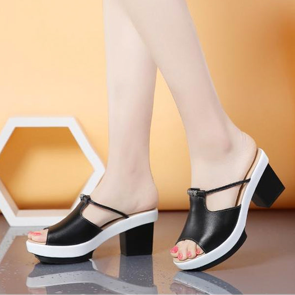 Summer Women Leather Slip On Slippers Casual Mature Square Heel Sandals