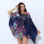Boho Batwing Sleeve Chiffon Blouse Casual Floral Print Loose Big Size Beach Blouse