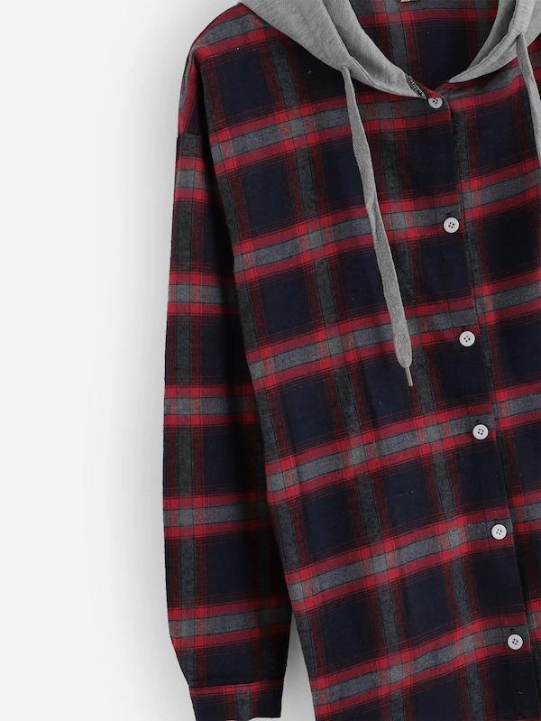 2 In 1 Plaid Hooded Shirt
