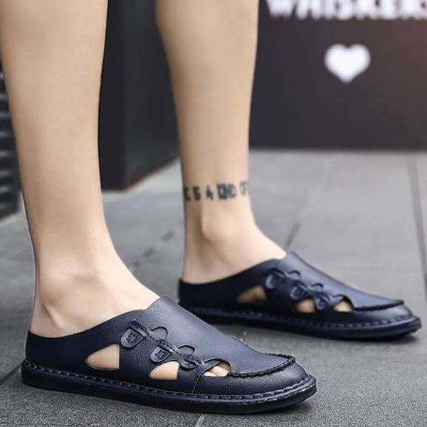 Men's Genuine Leather Sandals Shoes Summer Leisure Beach Sandals Slippers