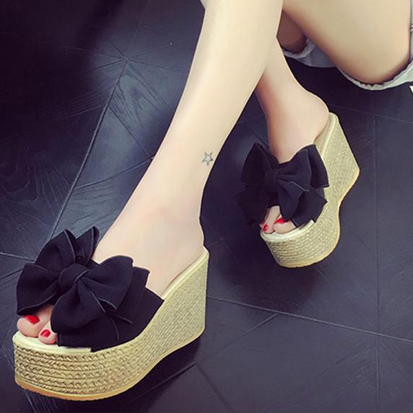 Women Pee Toe Wedges Sandal Shoes Butterfly-knot High Heels Platform Sandals