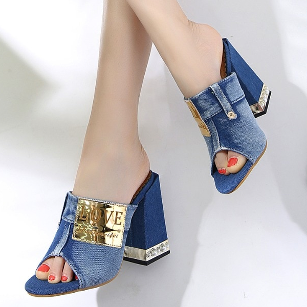 Women Concise Denim Sandals Peep Toe High Heels Open Toe Mules Sides Shoes