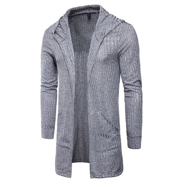 Mens Sweater Long Sleeve Cardigans Casual Solid Hooded Long Fashion Shirt Streetwear Coat Clothings