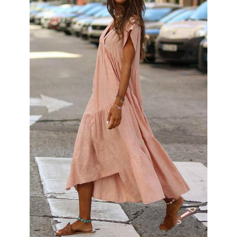 Ladies V-neck Irregular Long Dress