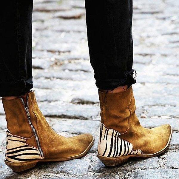 Casual Pointed Toe Zebra-Striped Boots