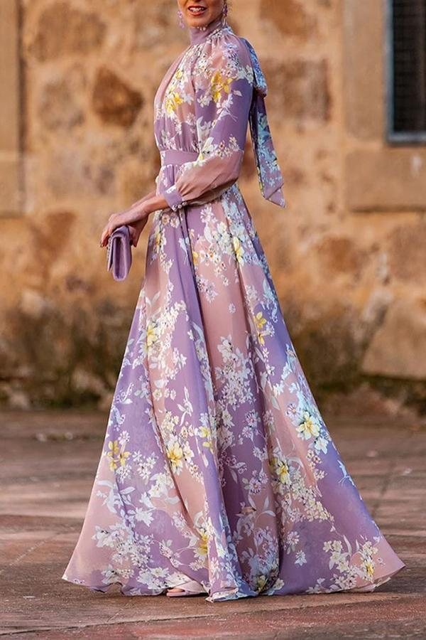 Bohemian Floral Print Paneled A-line Pleated Maxi Dress