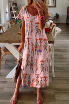 Character Print Casual Short Sleeves Slit Maxi Dress
