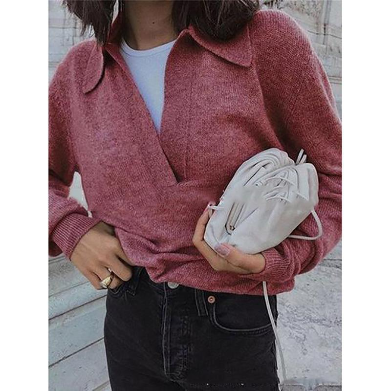Lapel V Neck Casual Sweaters