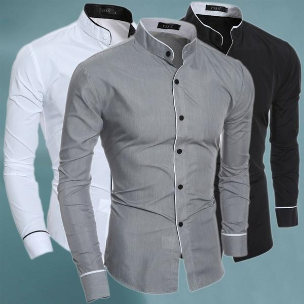 Men' Classic Business Casual Long Sleeved Dress Shirts