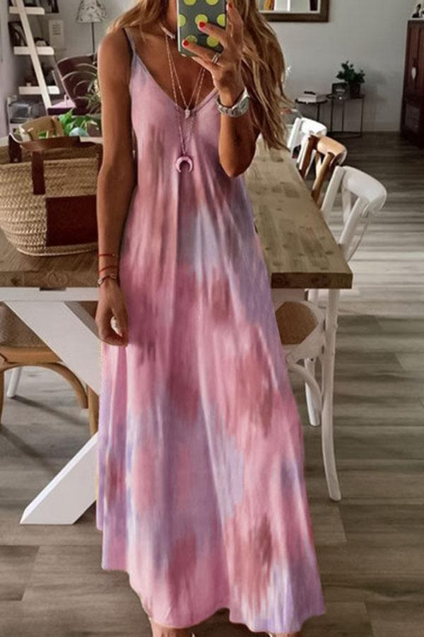 Holiday Gradient Print Spaghetti V-neck Maxi Dress