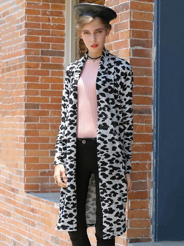 Leopard-print Long Knit Cardigan Coat