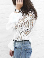 Lace Hollow Puff Sleeves Blouses&Shirts Top