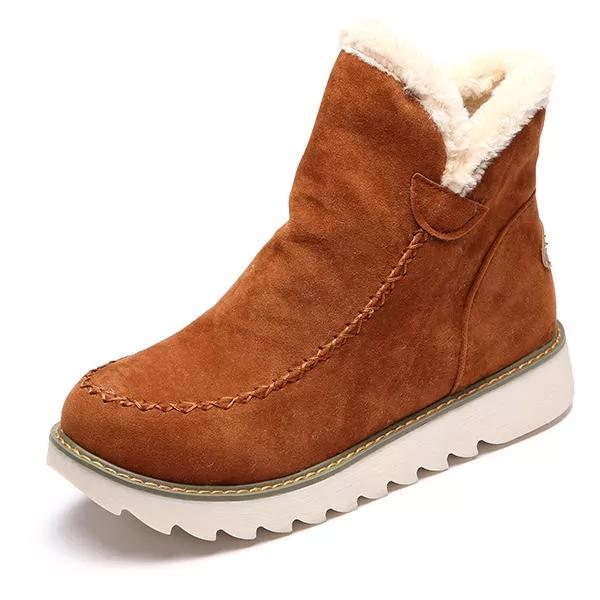 Pure Color Warm Winter Ankle Snow Boots