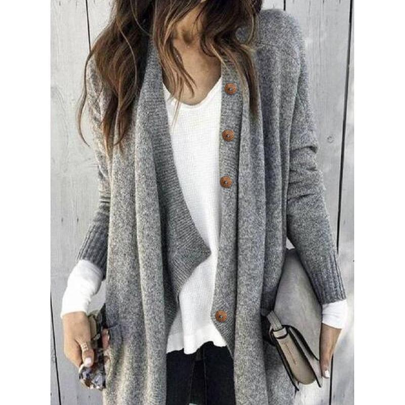 Large Size Solid Color Buttoned Casual Cardigan