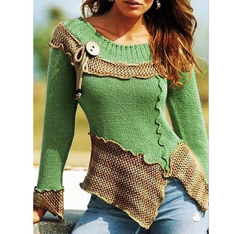 Fashion Color Block Knit Sweaters