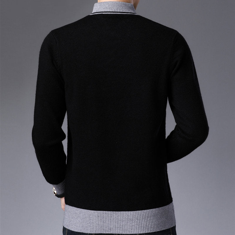 Men Thick Warm Wool Pullover Button Turtleneck Pull Knitwear Sweater Tops