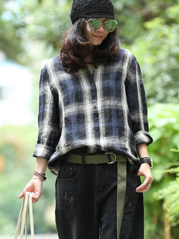 Blue Plaid Loose Linen Long Sleeve Shirt