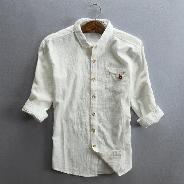 Men Spring/Fall 3/4 Sleeve Loose Turndown Collar Shirts