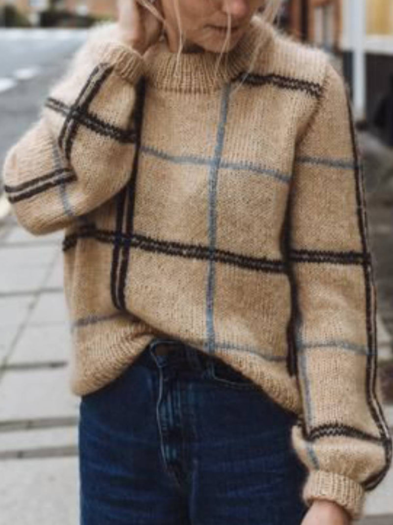 Khaki Wool Blend Checkered/plaid Casual Turtleneck Sweater