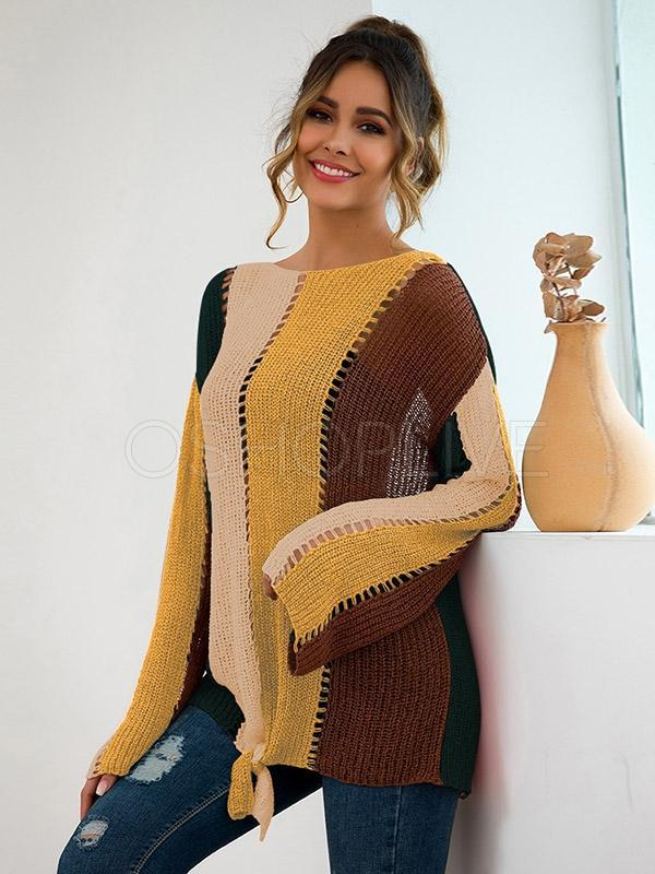 Color-block Loose Bandge Sweater