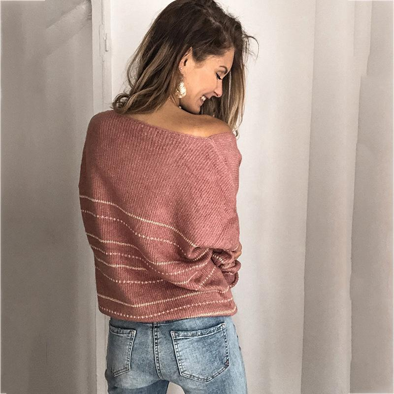 New Women's Patchwork Sweater Striped V-neck