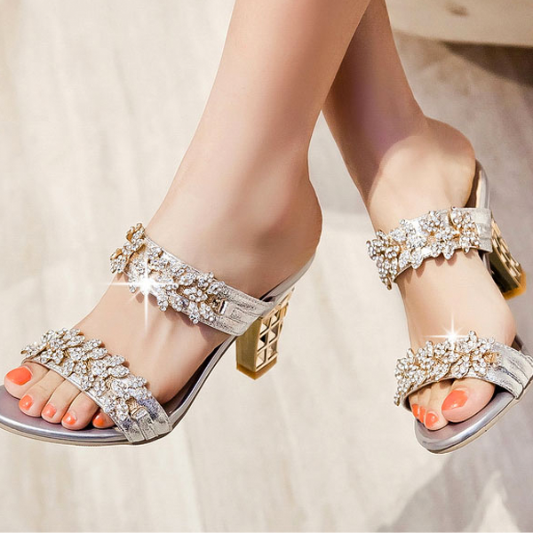 d4be5fbfdcf36 Women Bling Open Toe Sandals Party Chunky High Heels Rhinestone Mule Slides