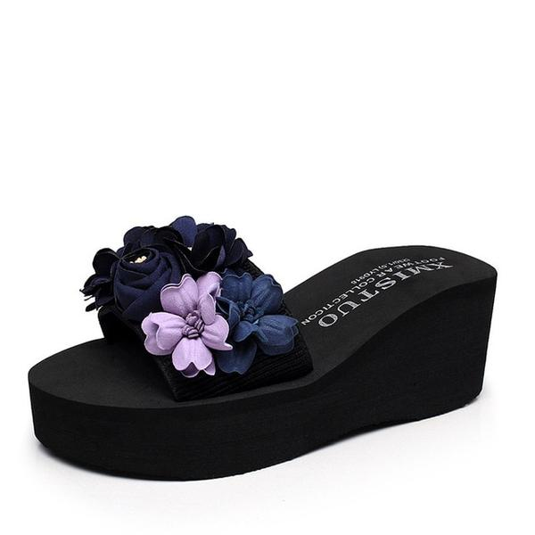 Women Flower Platform Sandals Beach Slides Water-resistant High-heeled Shoes