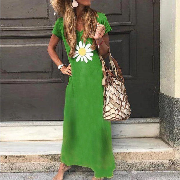 Simple V-Neck Short Sleeve Loose Printed Maxi Dress