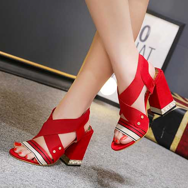 Women Open Toe Flock Sandals Square Heel Pumps Sandals