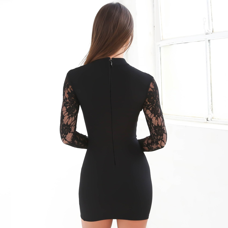 women elegant sexy lace dress open front mini long sleeve hollow out halter dress
