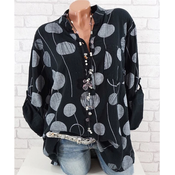 Large Size Women Big Dot Print Blouse Round Neck Bat Sleeve Shirt Tops