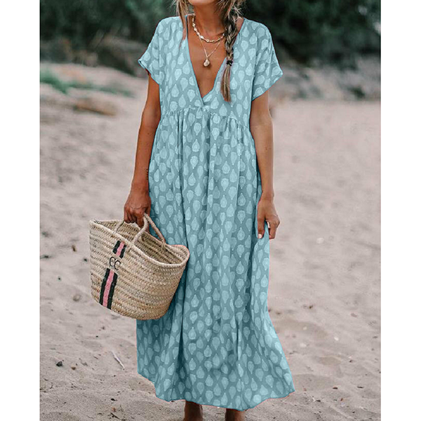 V-neck Loose Short-Sleeve Printed Dress