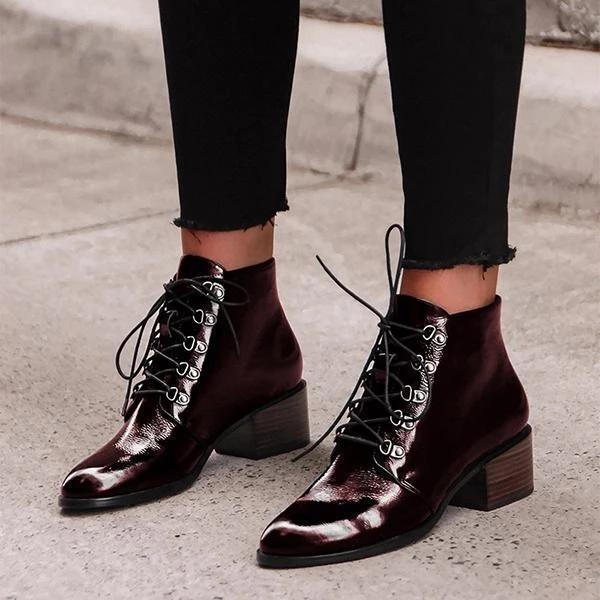 LADYS STYLISH  LACE-UP HEELS ANKLE BOOTS