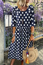 Casual Polka Dots Print Paneled Side Pockets Midi Dress