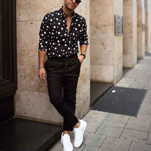 Summer New Fashion Polka Dot Lapel Long Sleeve Shirts