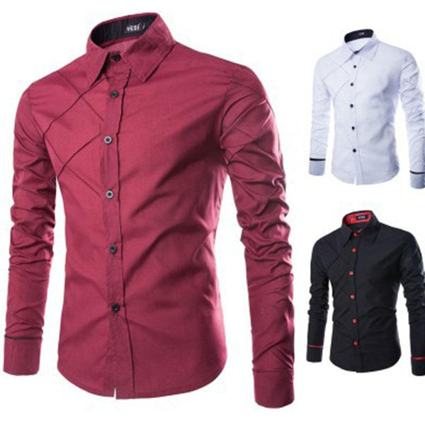 Classic Men Business Plaid Patchwork Long Sleeve Solid Color Office Shirts