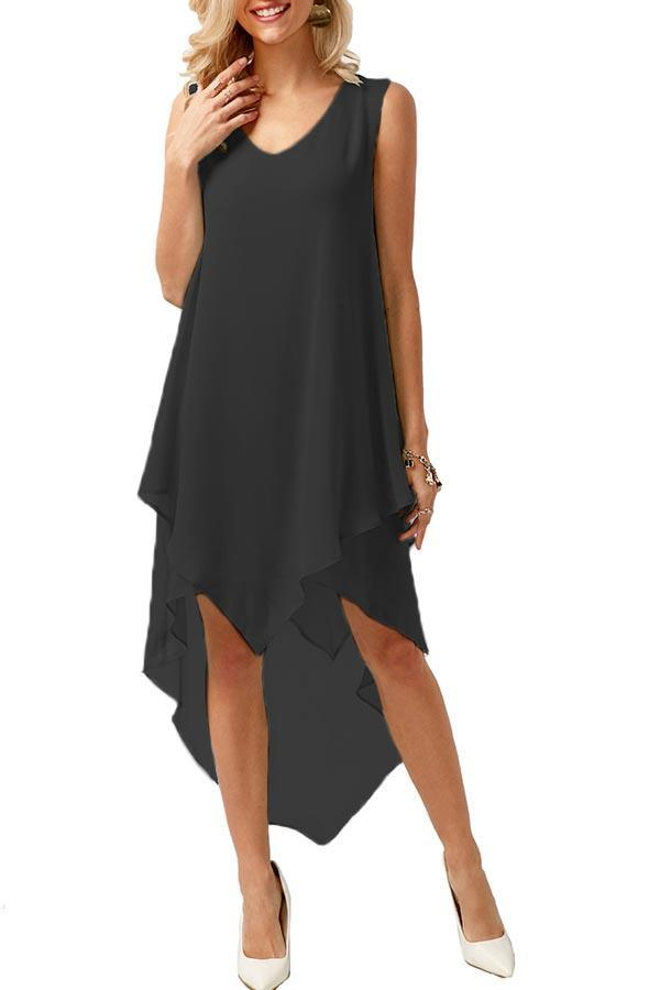 Solid Paneled Irreguar Hem Sleeveless Midi Dress